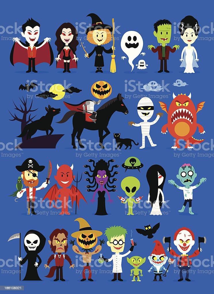 Monsters Mash Halloween Characters vector art illustration