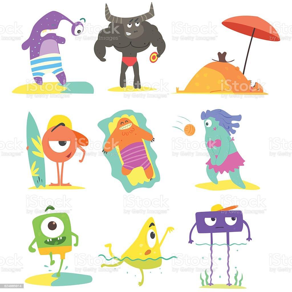 Monsters On The Beach Illustrations Set vector art illustration