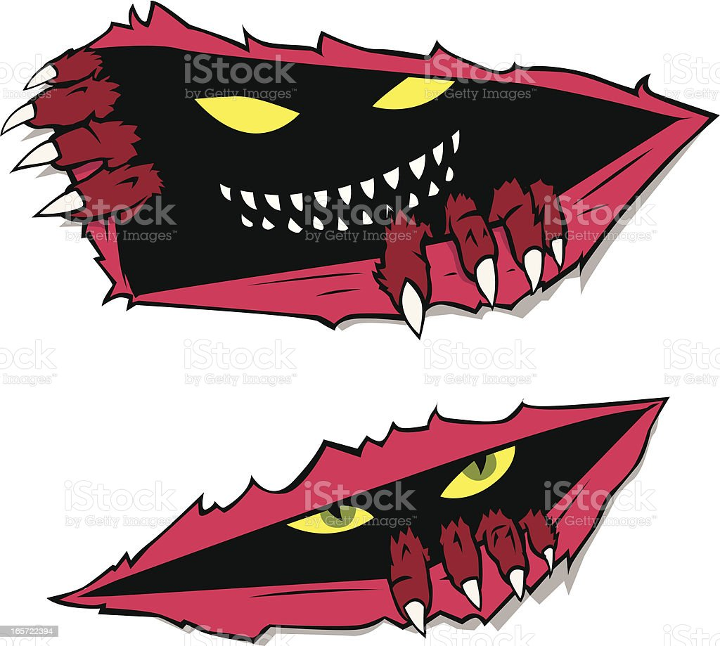 Monsters Tearing Up from the Inside royalty-free stock vector art