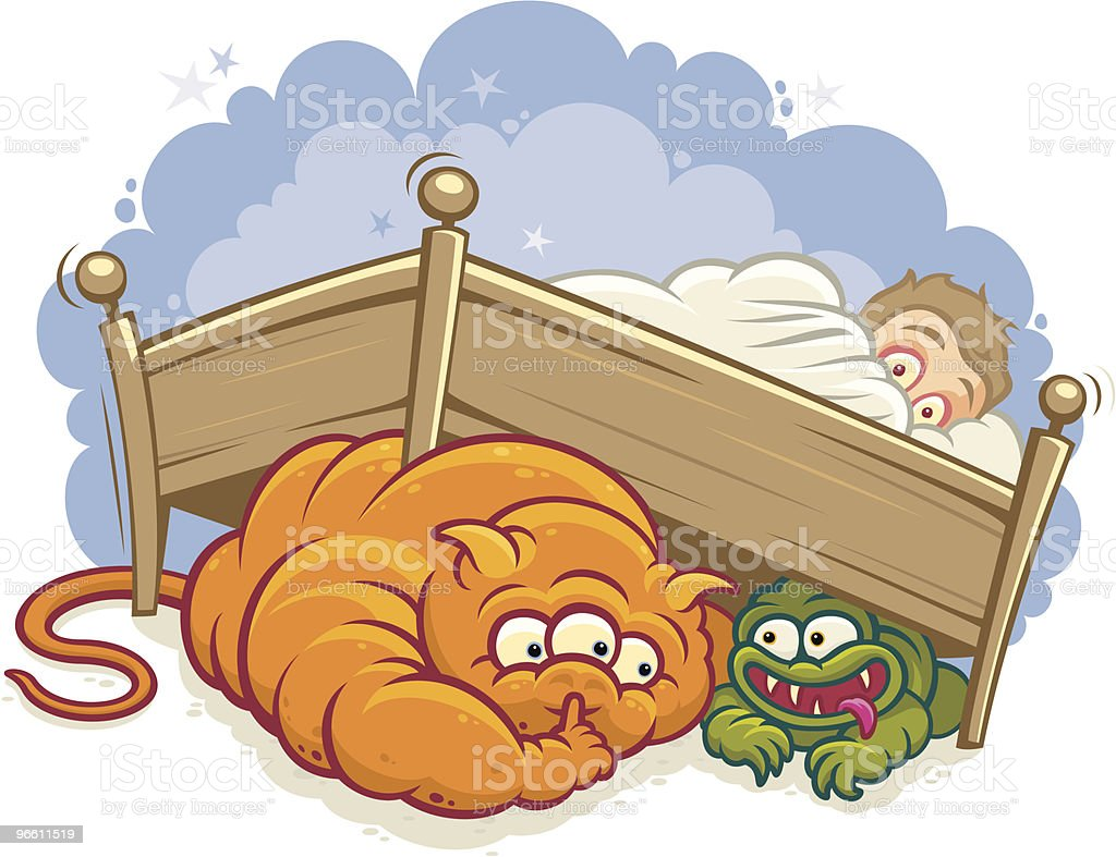 Monsters under the bed vector art illustration