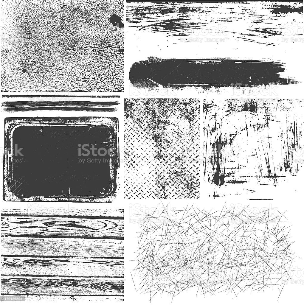 A montage of black and white grunge elements vector art illustration