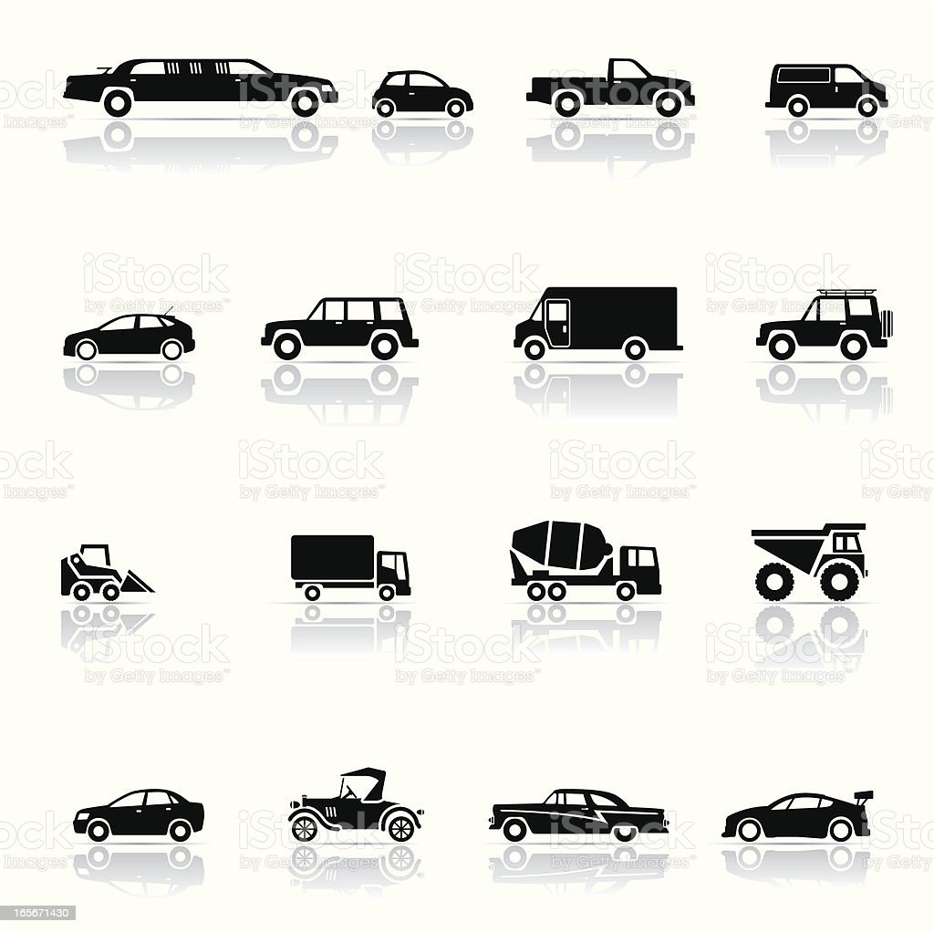 Montage of black and white vehicle icons vector art illustration