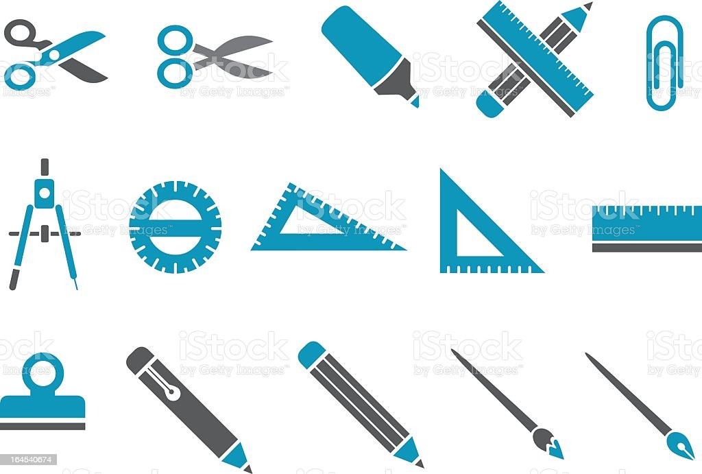 Montage of blue school supplies icons vector art illustration