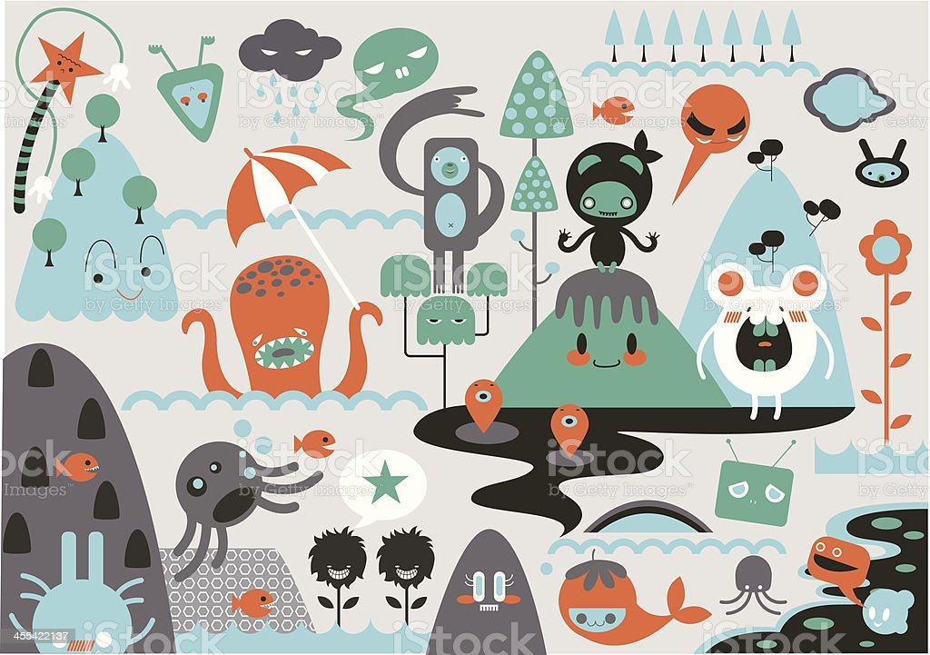 Montage of cute cartoon monsters vector art illustration