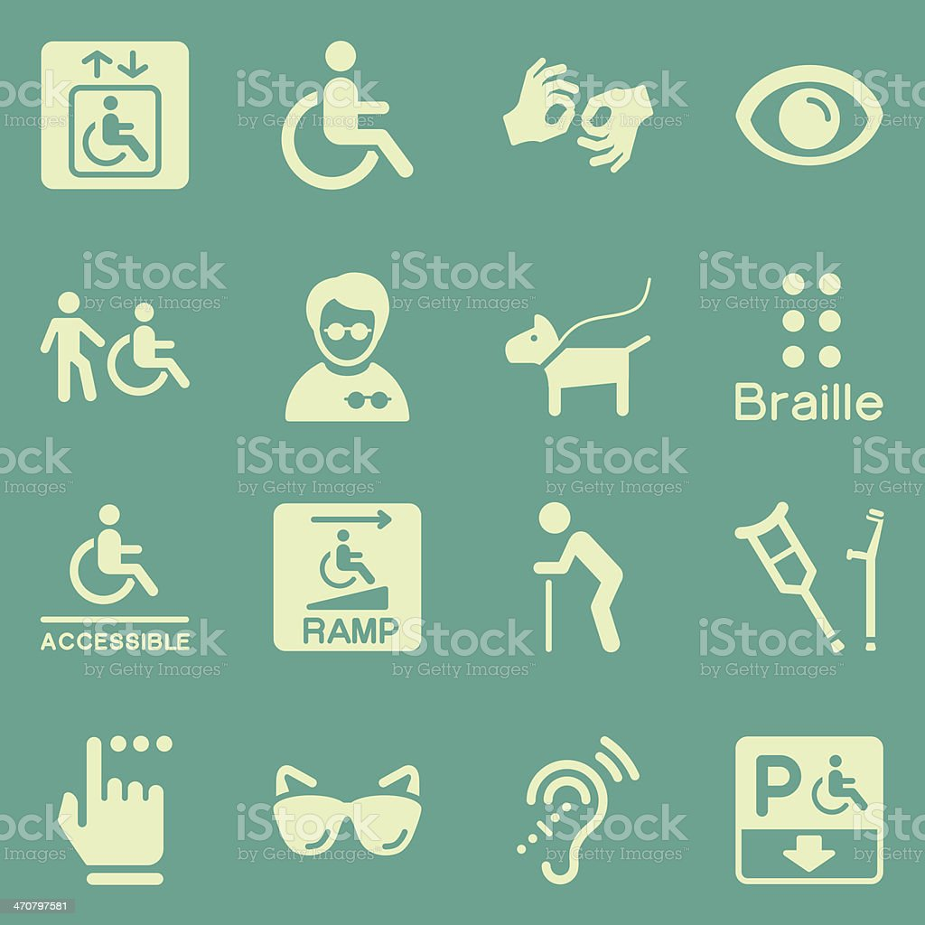 Montage of disability related icons royalty-free stock vector art