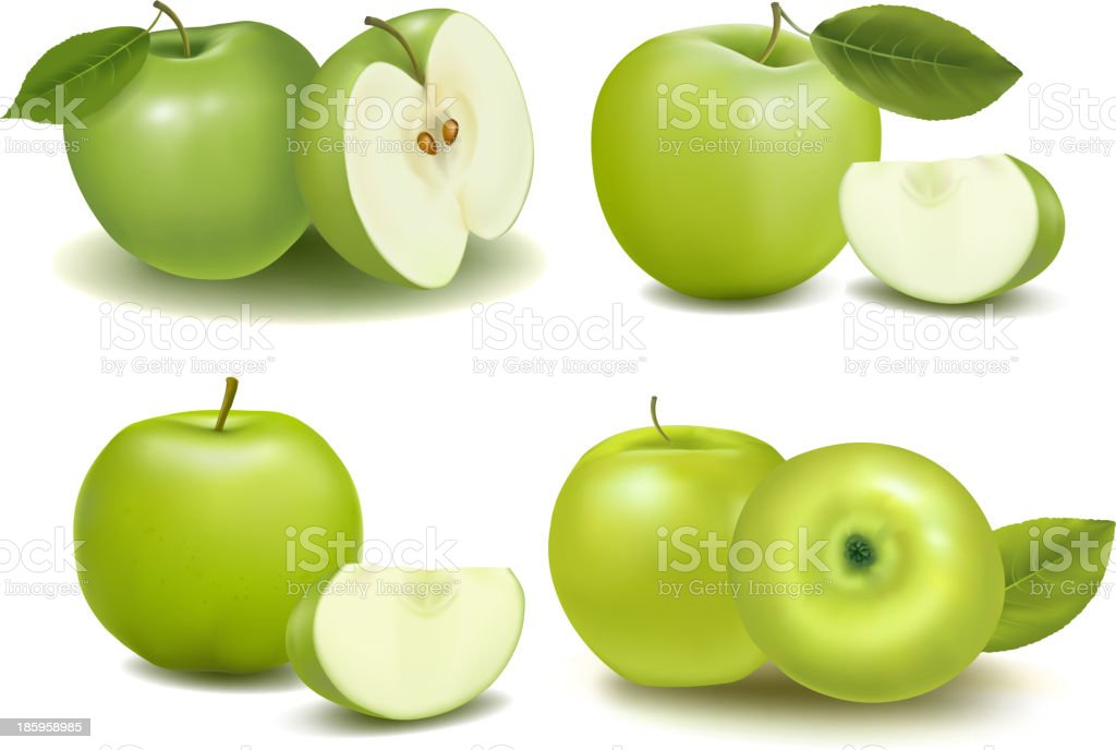 Montage of green apples with pieces cut vector art illustration