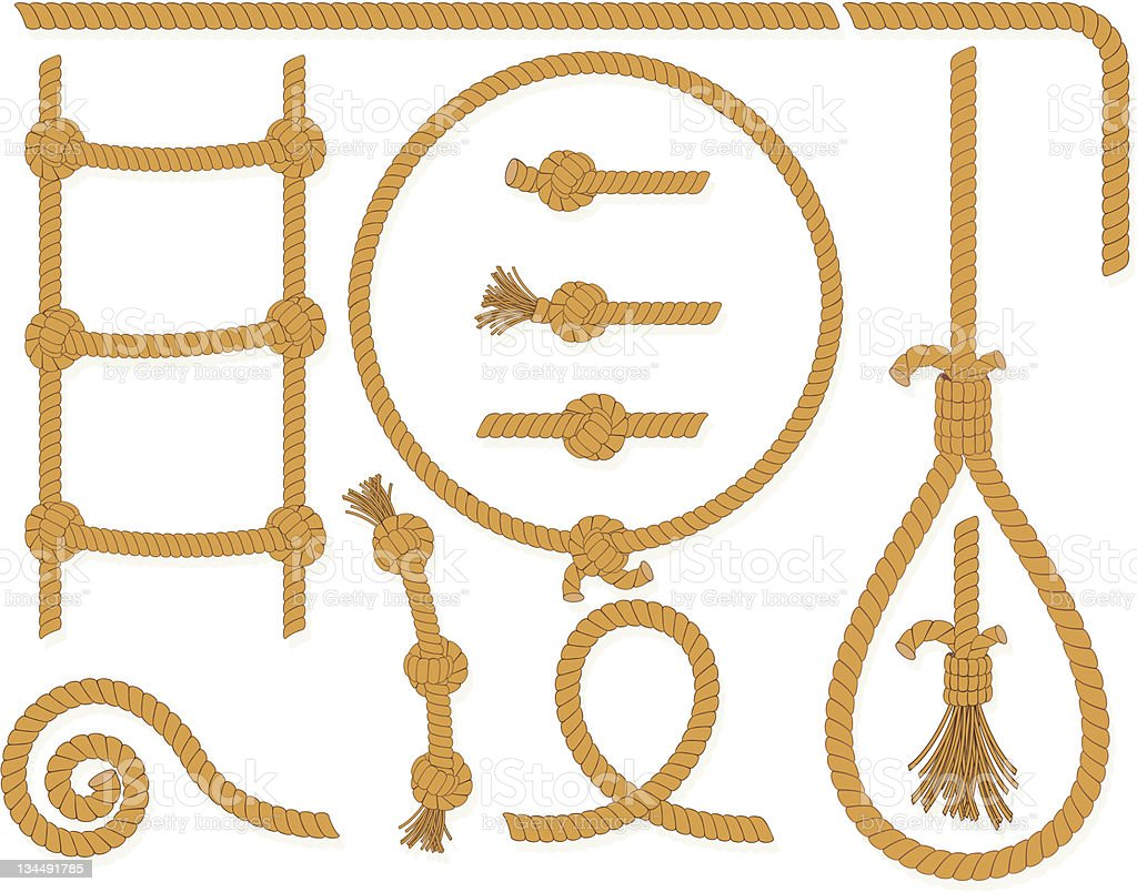 Montage of tied ropes hanging on a white background vector art illustration