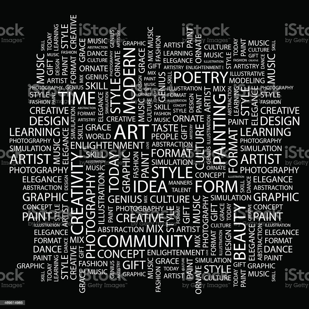 Montage of white words relating to art on black background vector art illustration