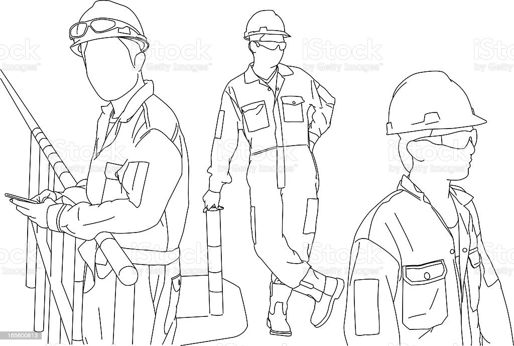 Montages on Manual Workers vector art illustration