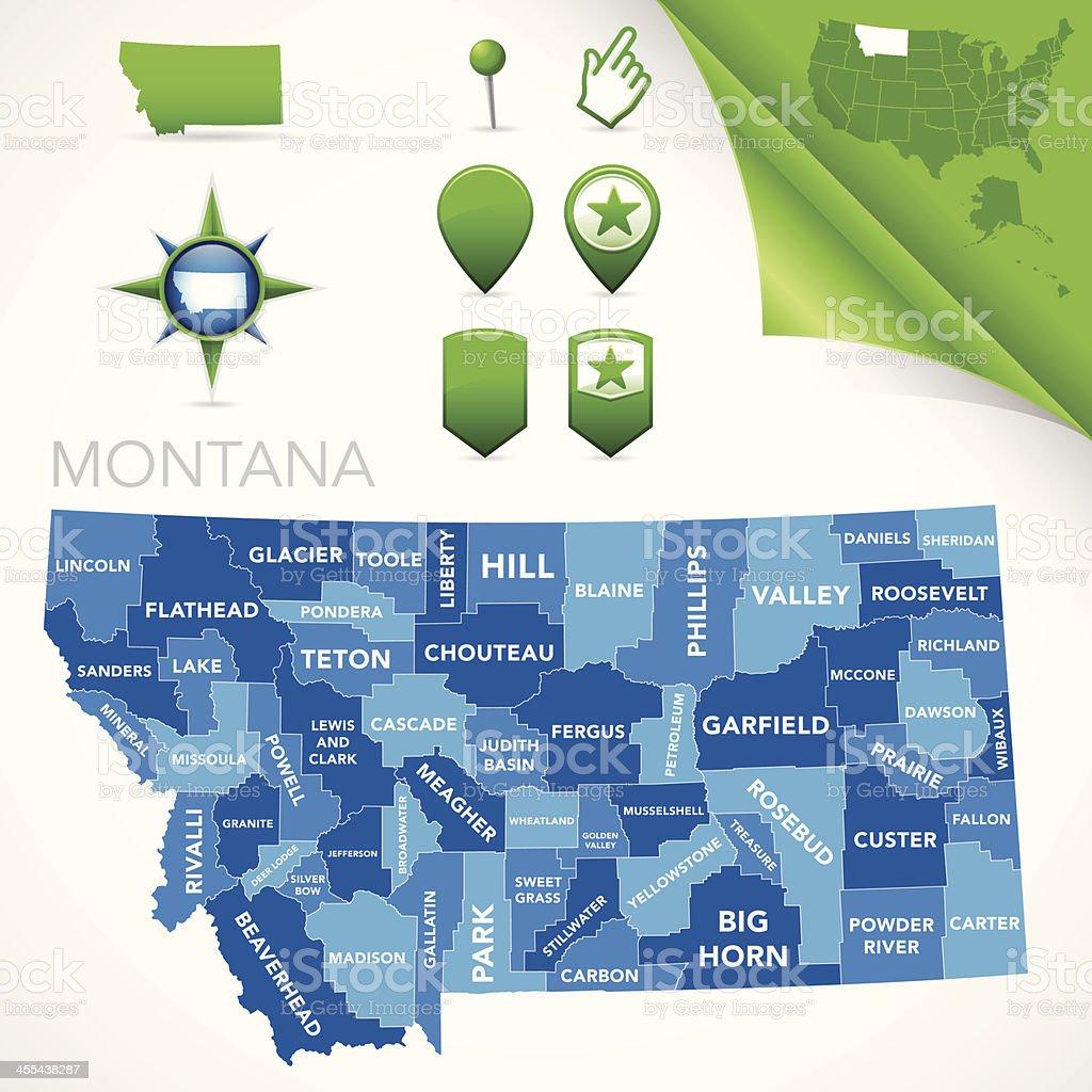 Montana County Map royalty-free stock vector art