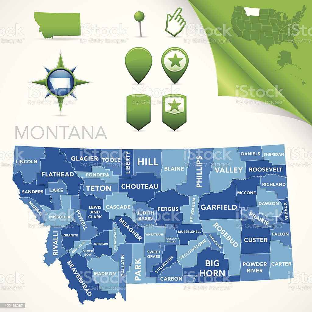 Montana County Map vector art illustration