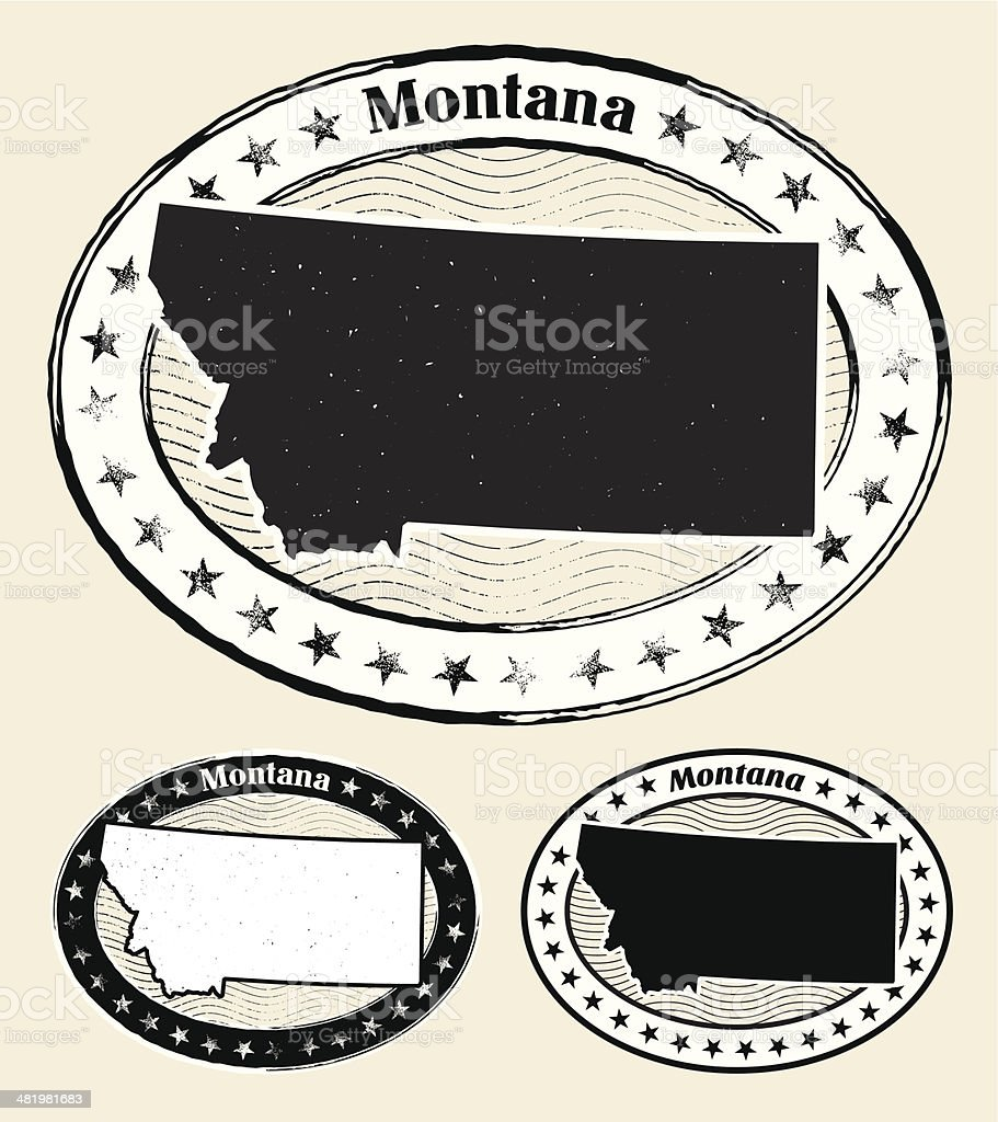 Montana Grunge Map Black & White Stamp Collection royalty-free stock vector art
