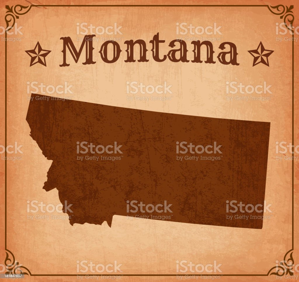 Montana Grunge Map with Frame vector art illustration