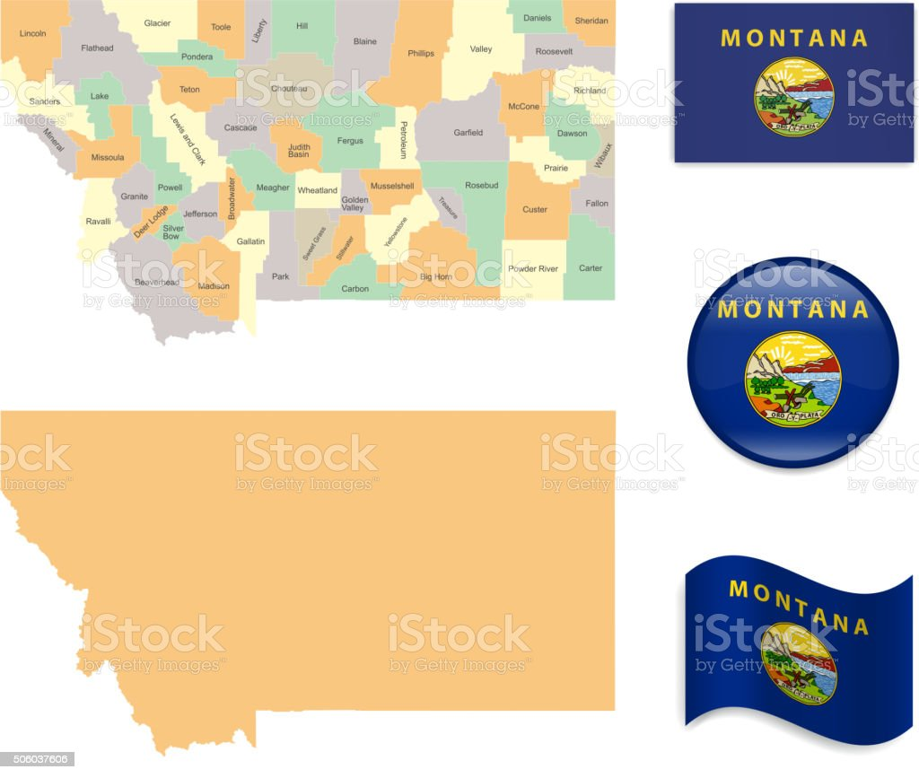 Montana Map and Flag Collection vector art illustration