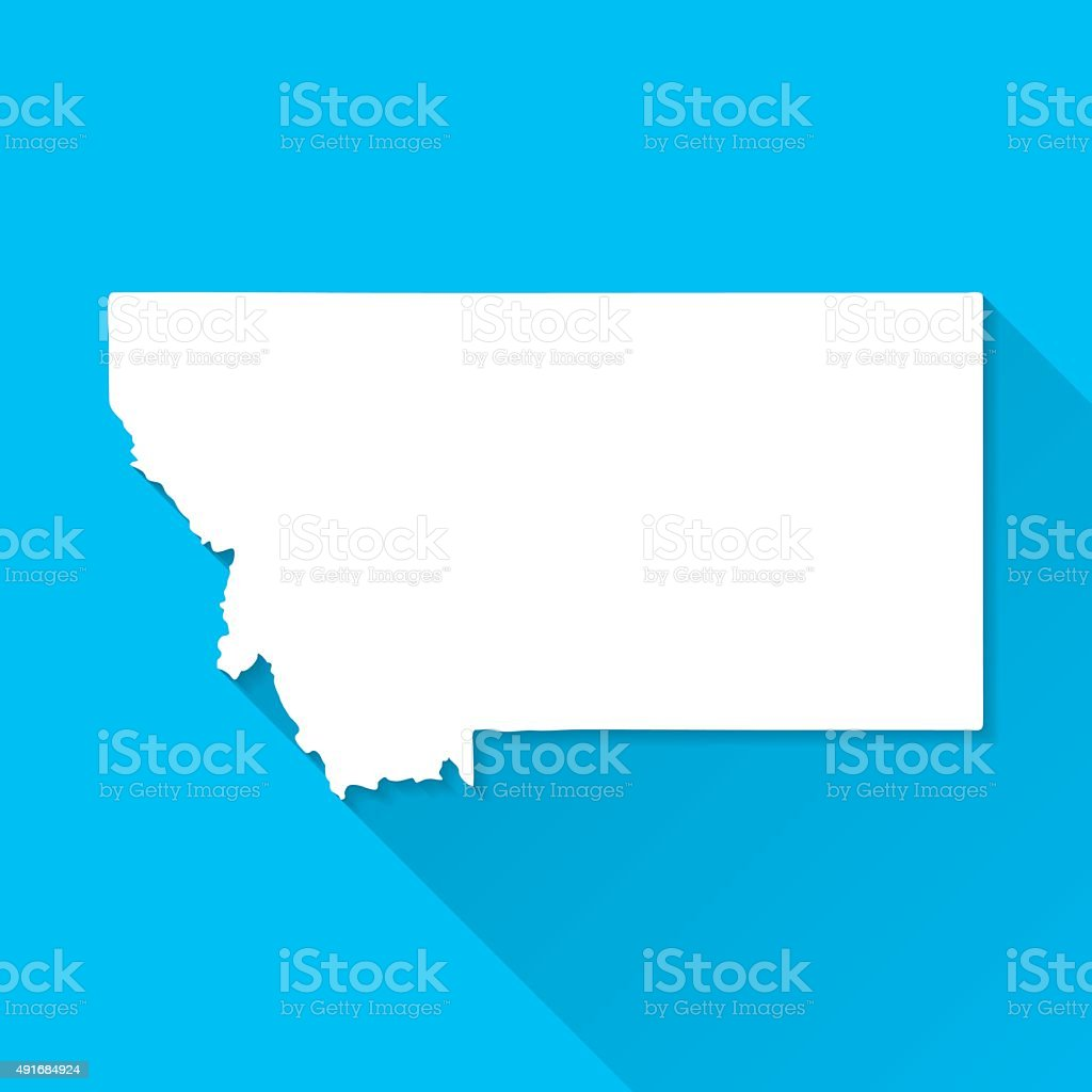 Montana Map on Blue Background, Long Shadow, Flat Design vector art illustration