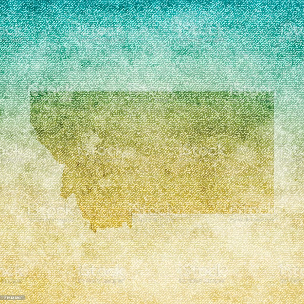 Montana Map on grunge Canvas Background vector art illustration