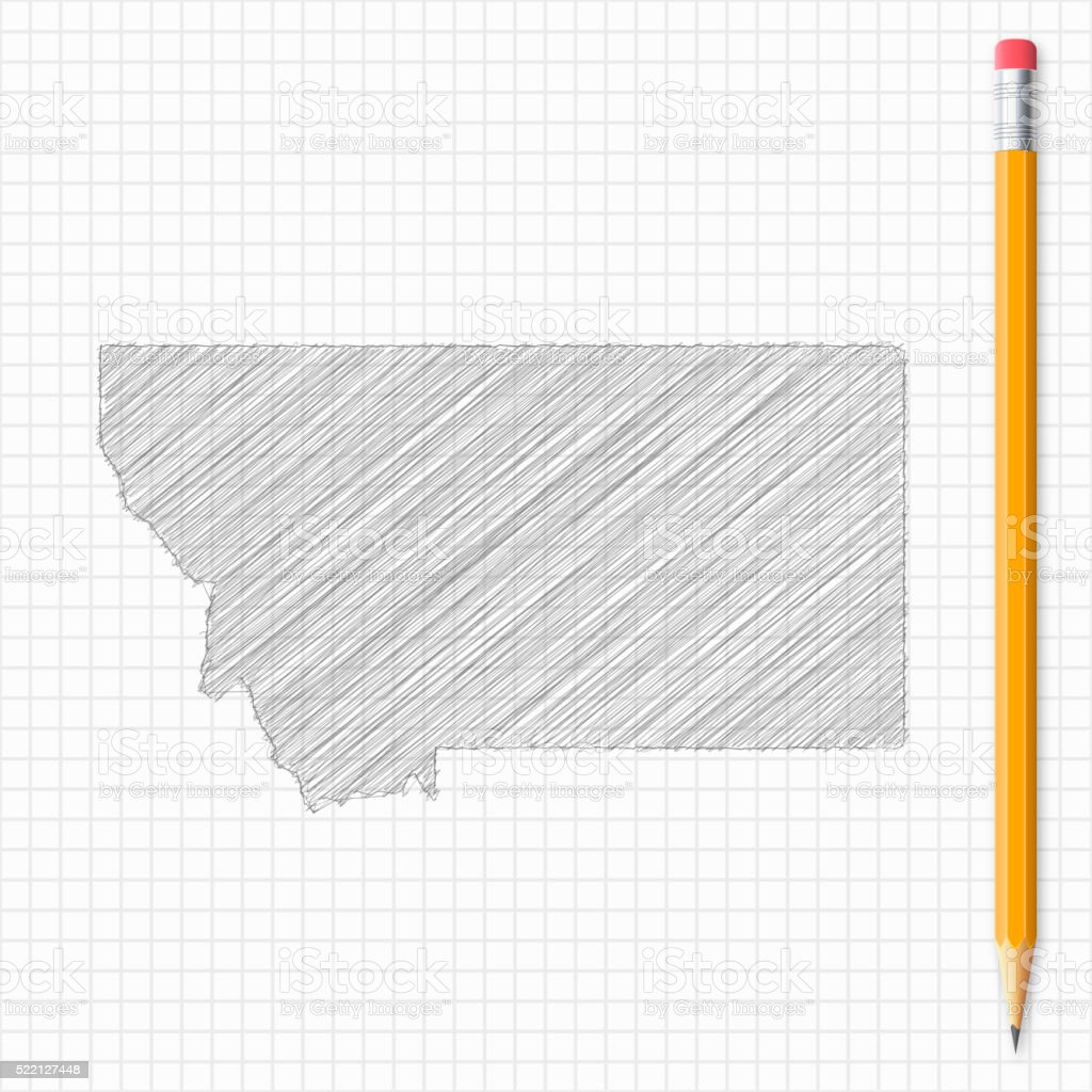Montana map sketch with pencil on grid paper vector art illustration