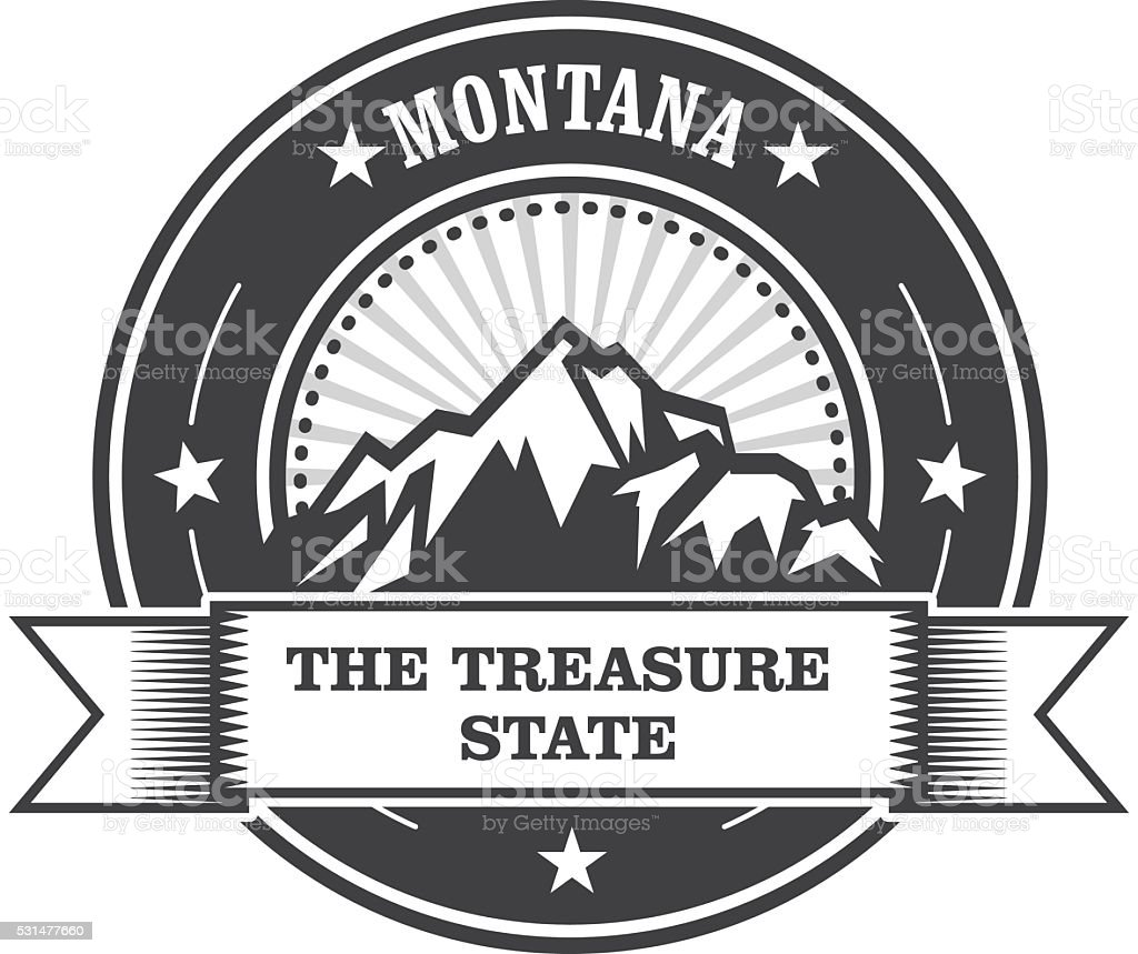 Montana Mountains - Treasure State stamp label vector art illustration