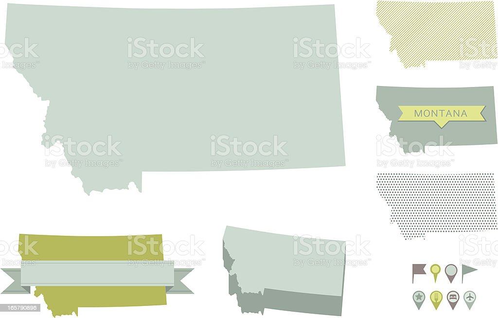 Montana State Maps royalty-free stock vector art