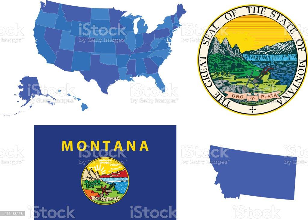Montana state set royalty-free stock vector art