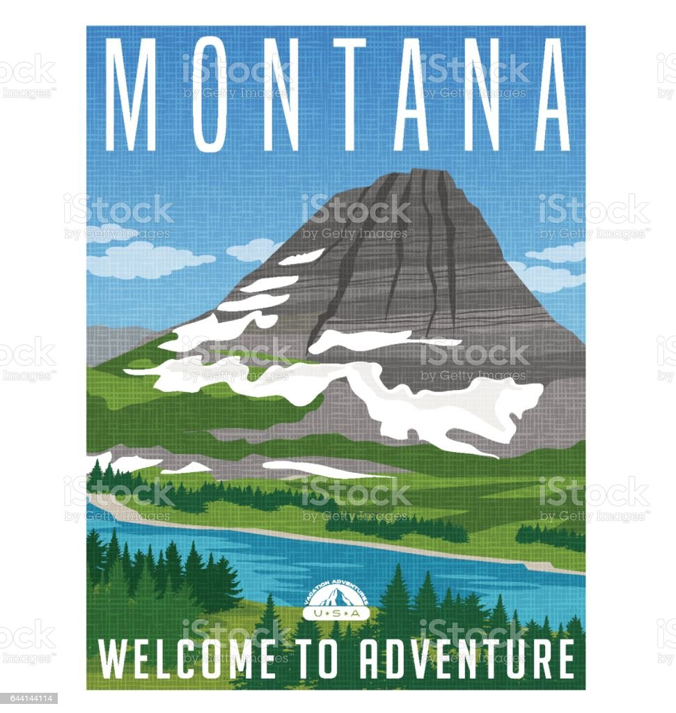Montana travel poster or sticker. Vector illustration of snowy mountain, river and forest. vector art illustration