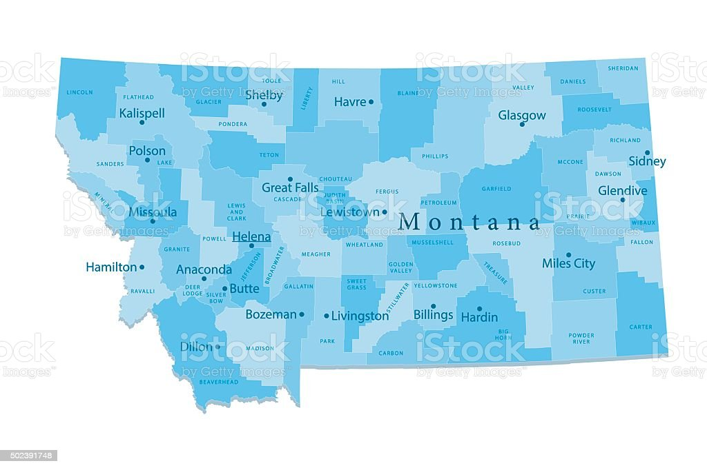 Montana Vector Map Isolated vector art illustration