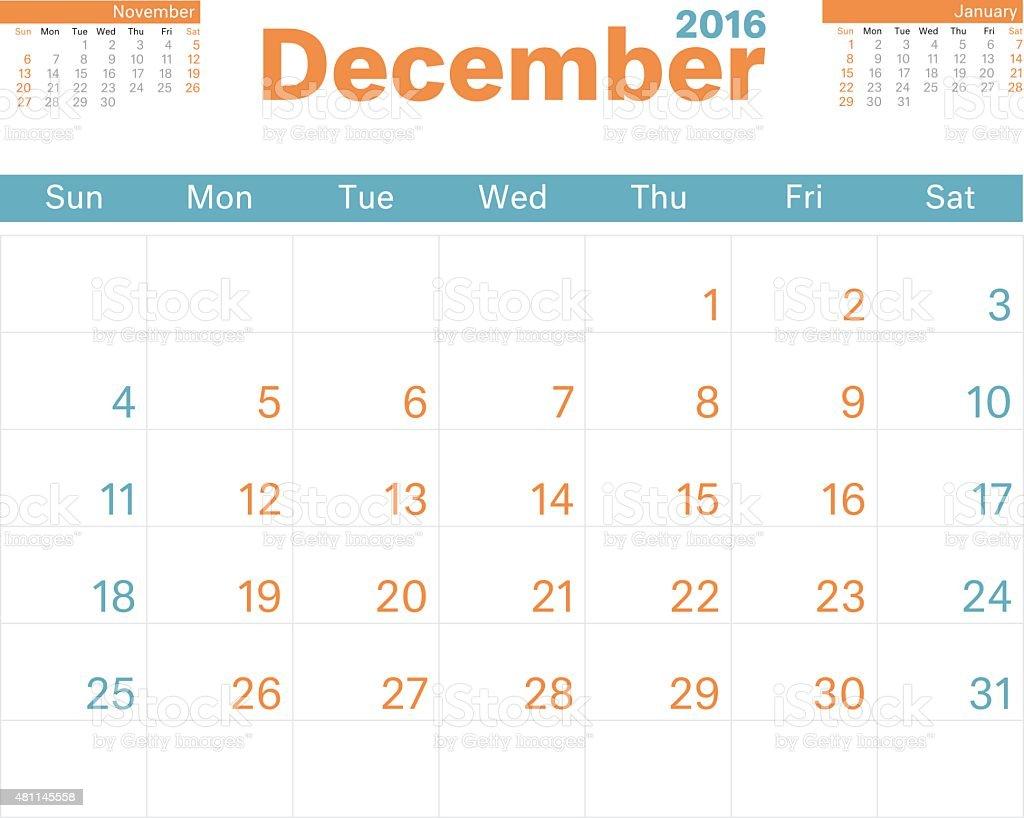 Month Calendar Dec 2016 vector art illustration