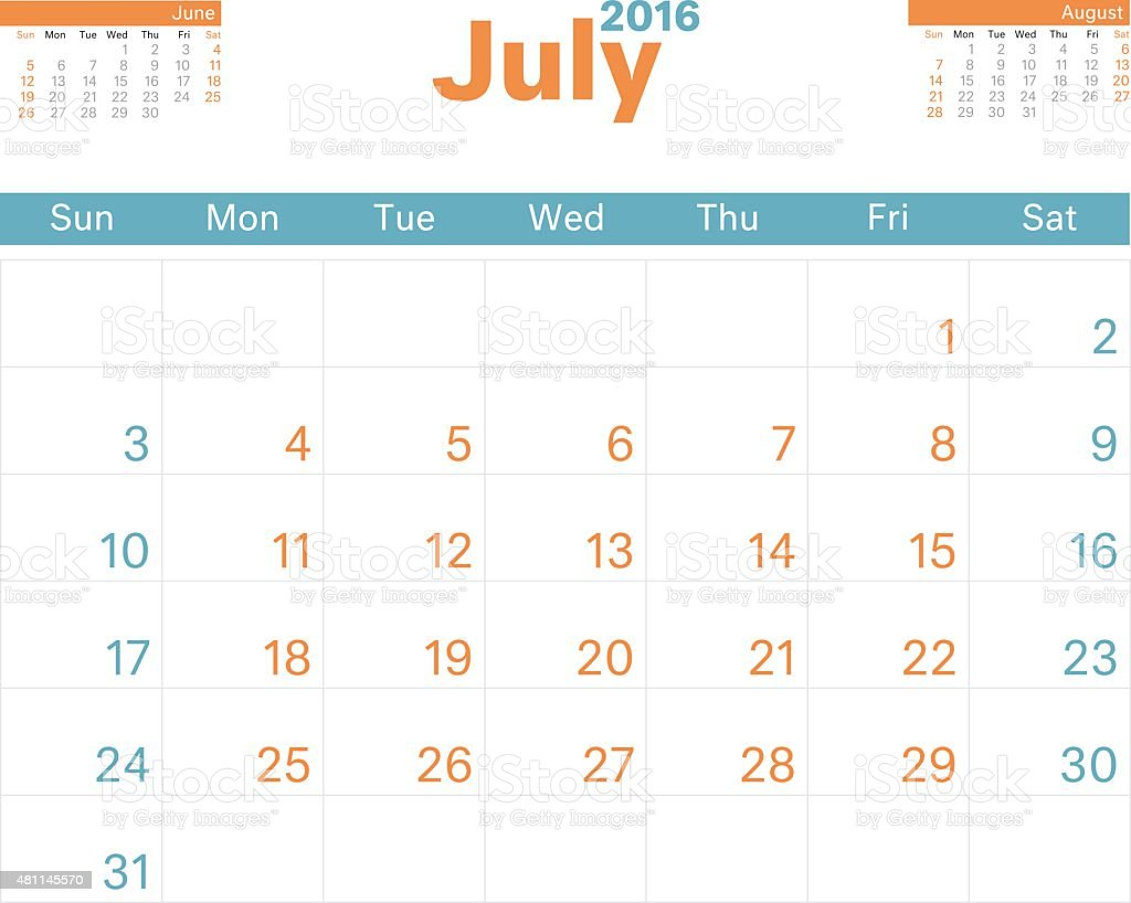 Month Calendar Jul 2016 vector art illustration