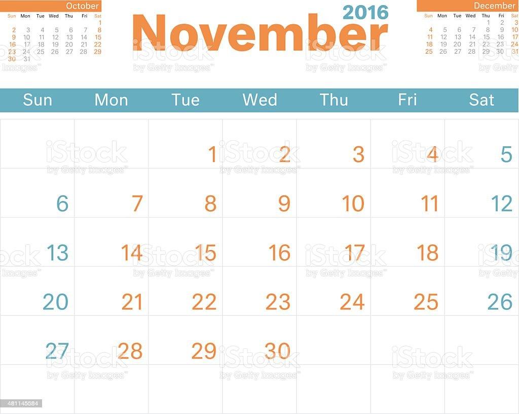 Month Calendar Nov 2016 vector art illustration
