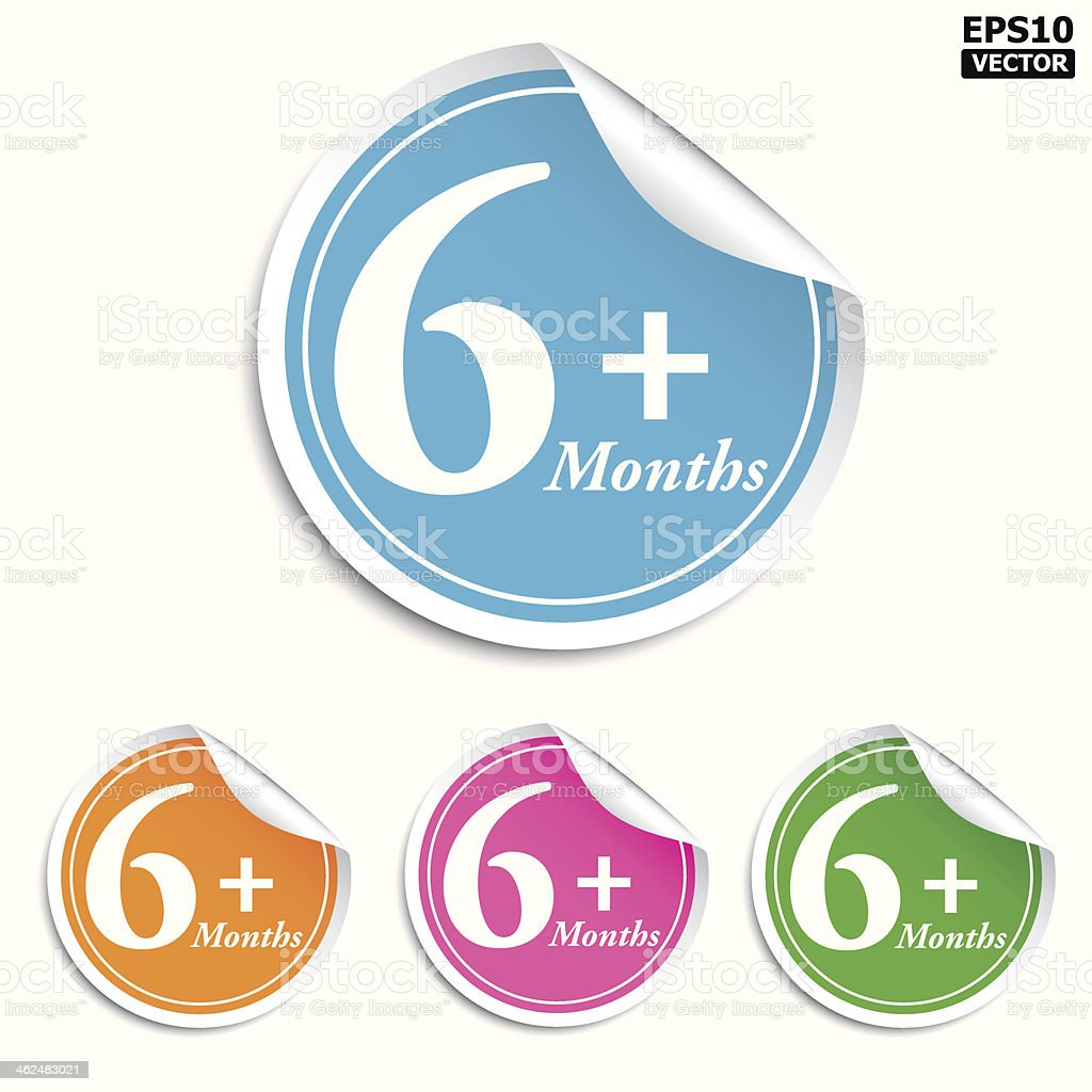 6 Month+ stickers royalty-free stock vector art