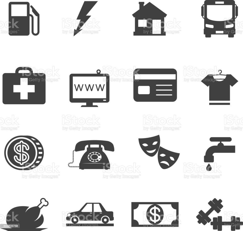 Monthly costs icons vector art illustration