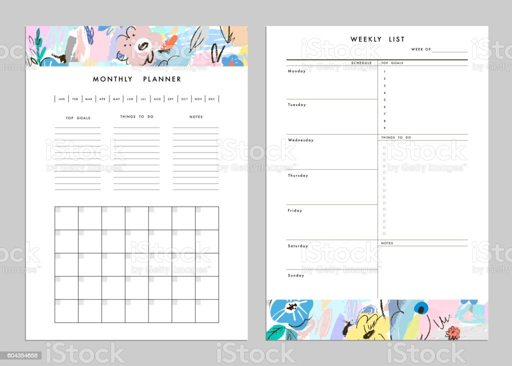 Monthly Planner plus Weekly List Templates. Vector vector art illustration