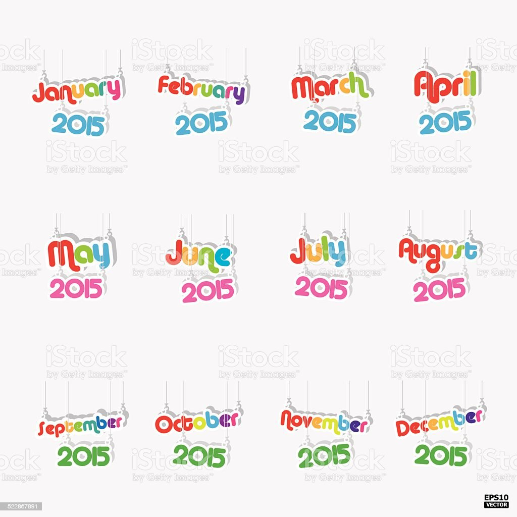 12 months of year 2015 paper hanging sign.eps10 vector royalty-free stock vector art