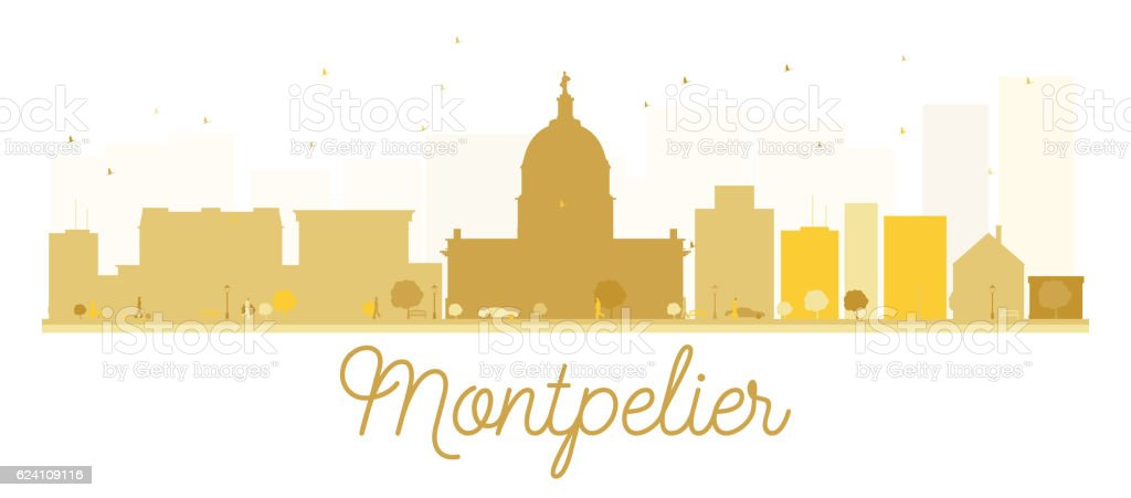 Montpelier City skyline golden silhouette. vector art illustration