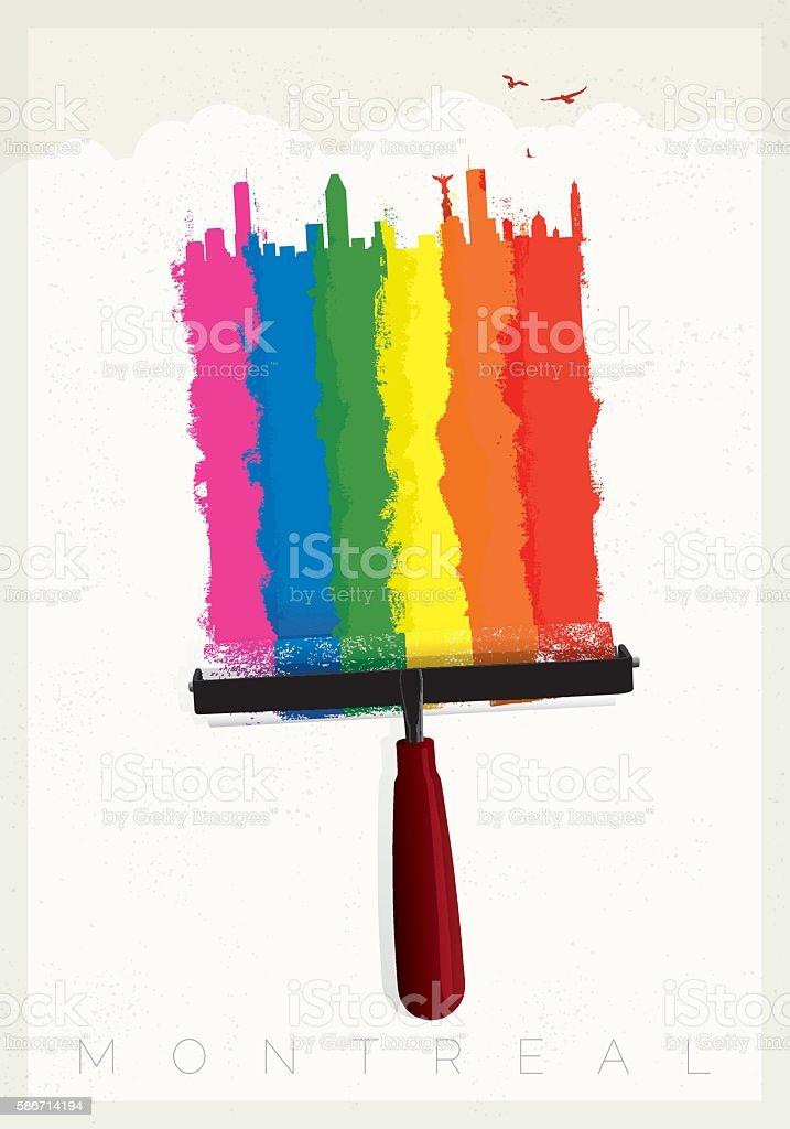Montreal gay pride vector art illustration