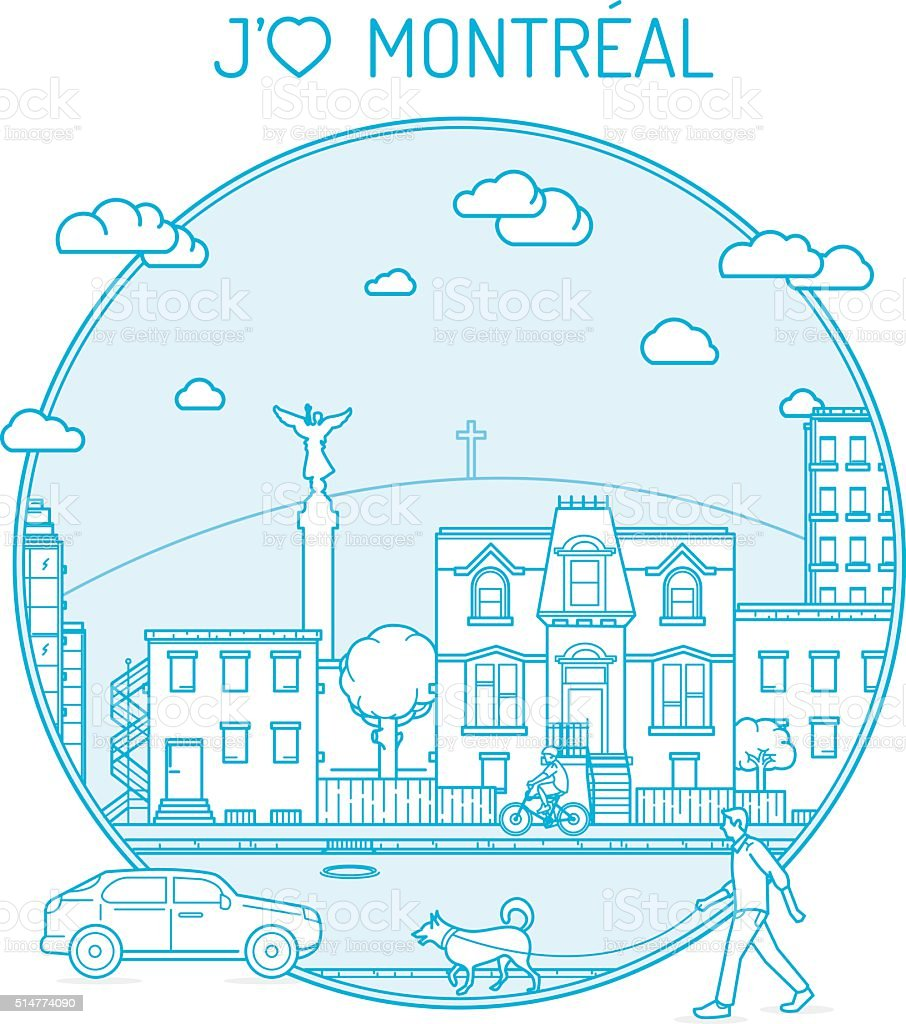 Montreal Je t'aime vector art illustration
