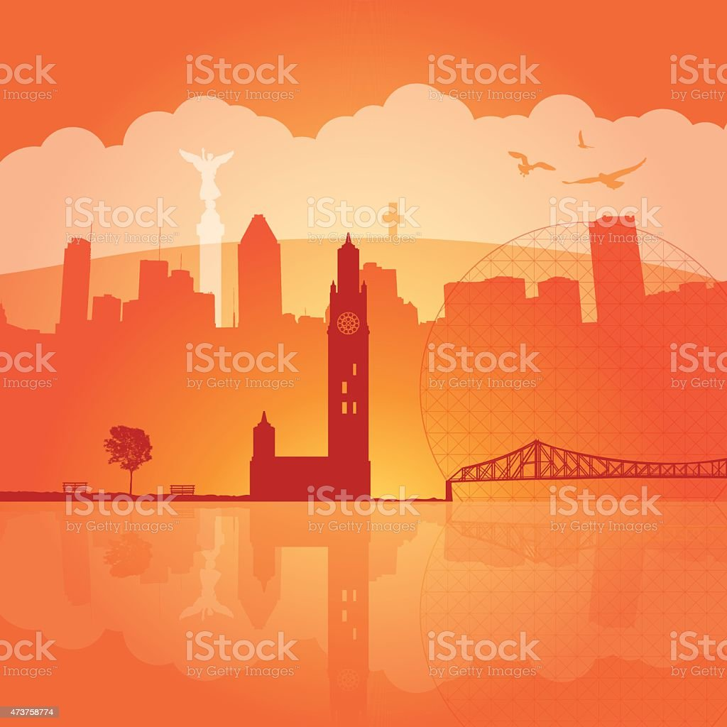 Montreal sunset with city silhouettes vector art illustration