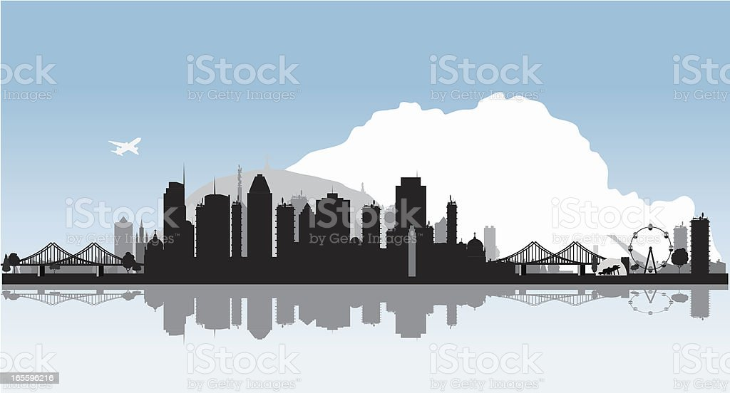 Montreal Vector Cityscape with Water Reflection royalty-free stock vector art
