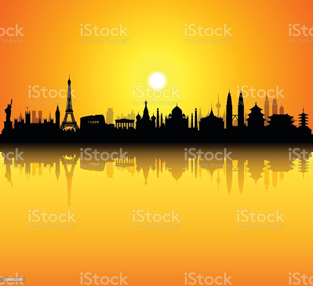Monument Skyline (Buildings Are Detailed, Moveable and Complete) vector art illustration