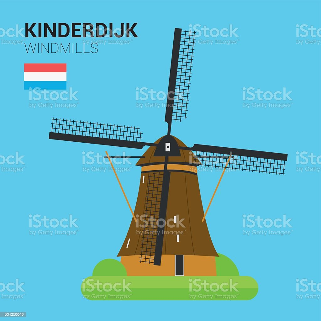 Monuments and landmarks Vector Collection: Kinderdijk Windmills. vector art illustration