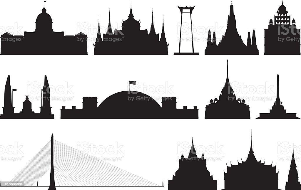 Monuments of Bangkok royalty-free stock vector art