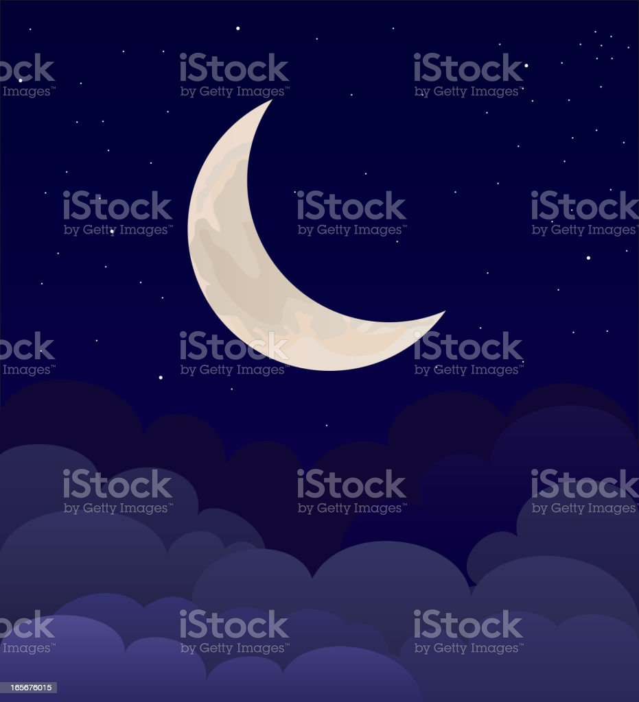 moon above clouds royalty-free stock vector art