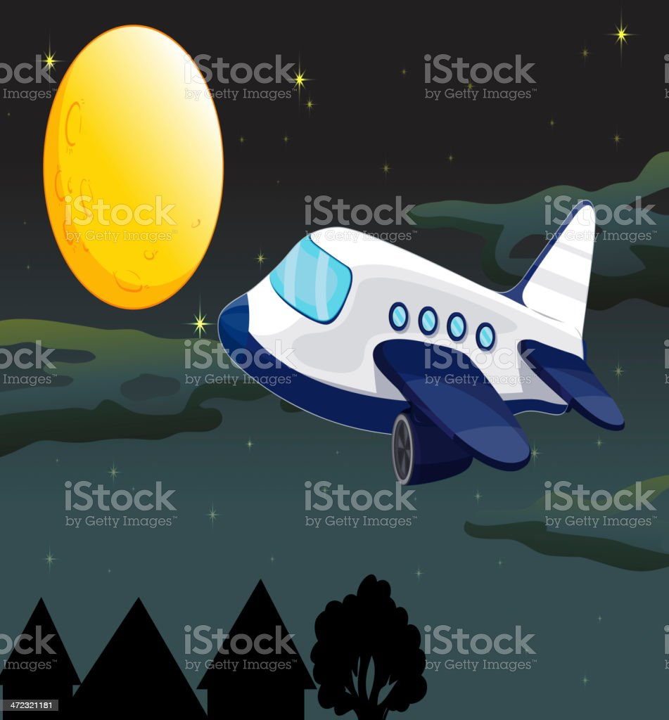 Moon and airplane royalty-free stock vector art