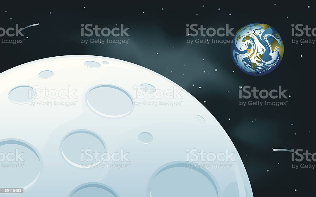 Moon and Earth royalty-free stock vector art