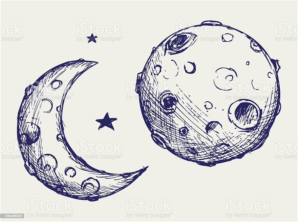 Moon and lunar craters vector art illustration