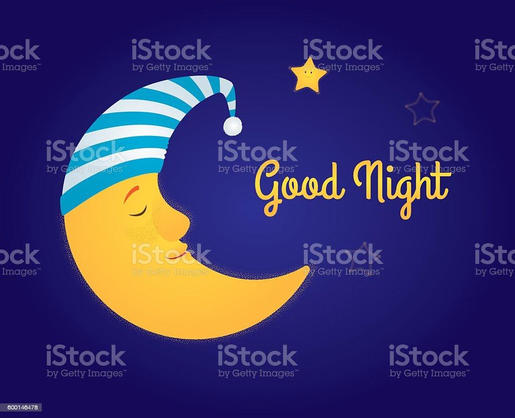 moon and stars good night vector art illustration