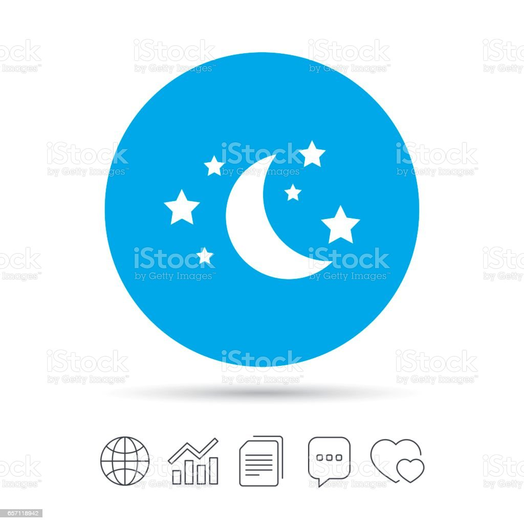 Moon and stars sign icon. Sleep dreams symbol. vector art illustration