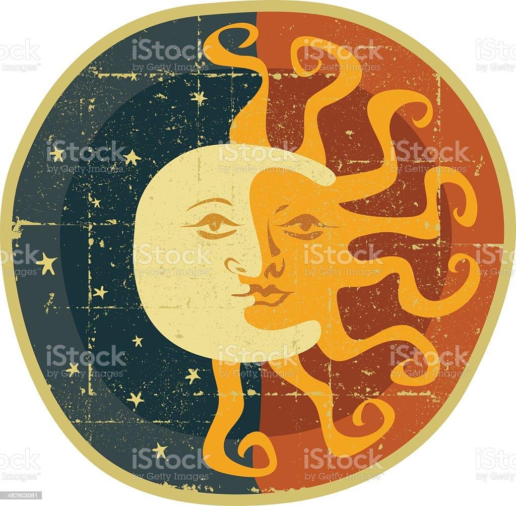 Moon and Sun vector art illustration