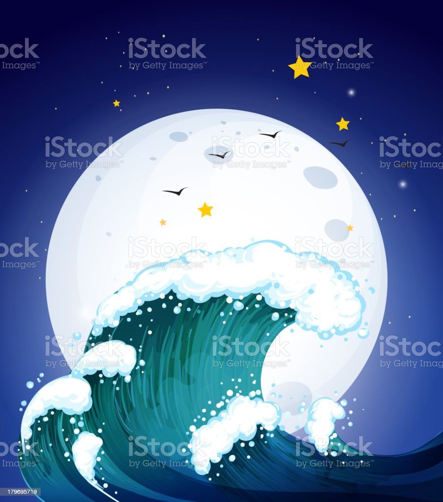 Moon and the waves royalty-free stock vector art