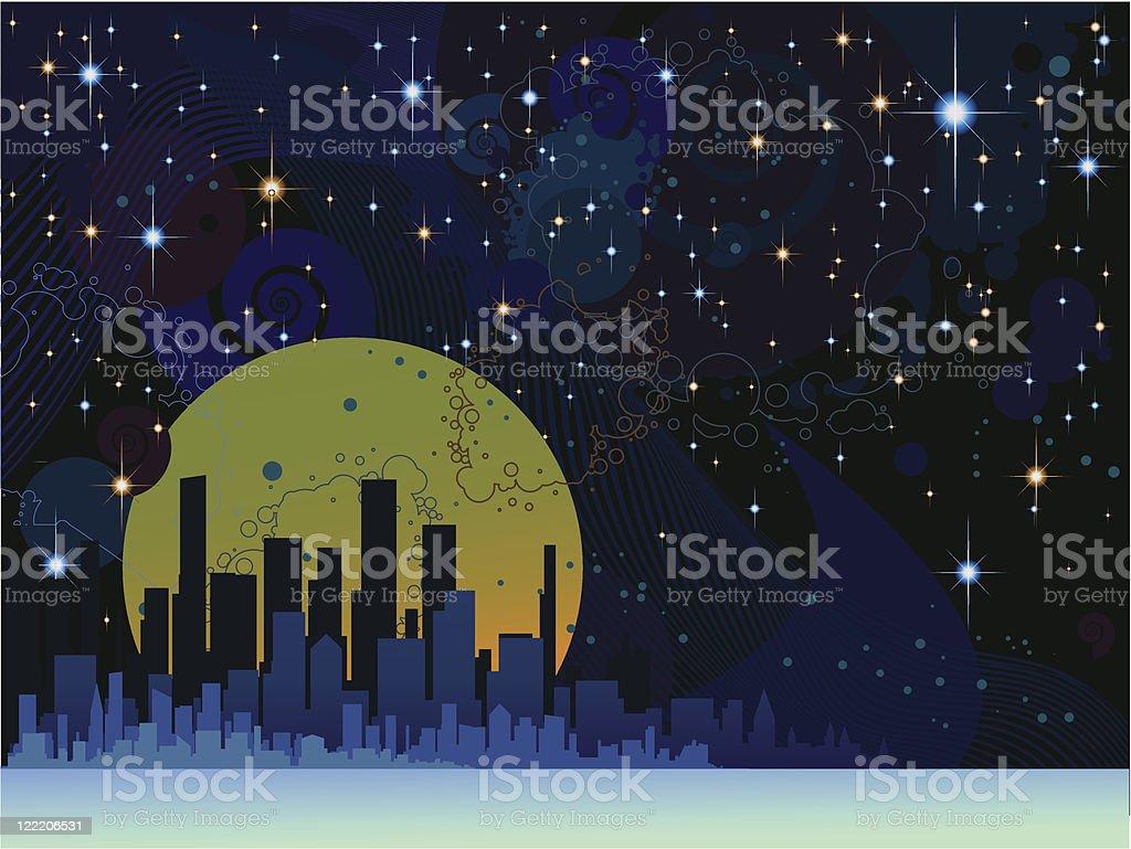 Moon city by night vector art illustration